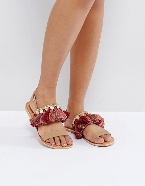 ASOS FINCH Leather Flat Sandals in tan - Sandals by ASOS Collection, Leather upper, Ankle-strap...