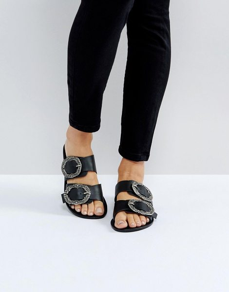 ASOS FLASHLIGHT Leather Antique Buckle Sliders - Sandals by ASOS Collection, Leather upper, Slip-on style,...