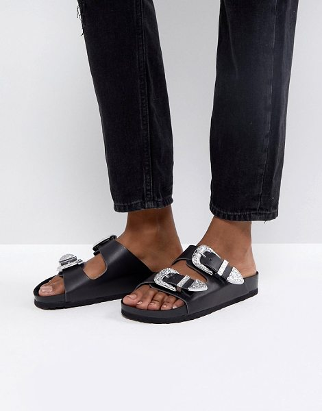 72ddc3382105f5 ASOS DESIGN franco western sliders in black - Sandals by ASOS Collection