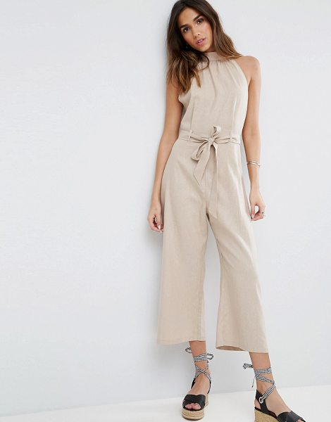 "ASOS Halter Jumpsuit in Linen in beige - """"Jumpsuit by ASOS Collection, Linen-mix fabric, High..."