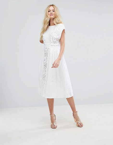 Asos Design Asos Lace Insert Midi Dress With Pom Pom Trim In