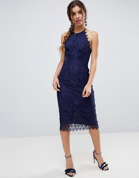ASOS DESIGN lace pinny scallop edge midi pencil dress in navy - Dress by ASOS Collection, For that thing you RSVPd to,...