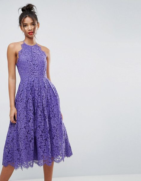 """ASOS DESIGN lace pinny scallop edge prom midi dress in purple - """"""""Midi dress by ASOS Collection, Lined lace, High neck,..."""