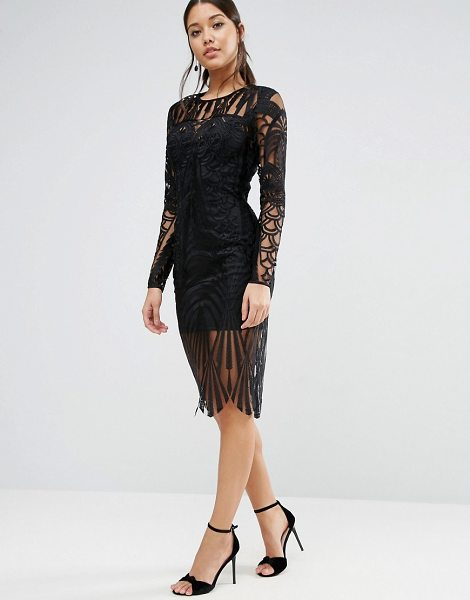 Asos Lace Placed Long Sleeve Midi Dress In Black Shopstasy