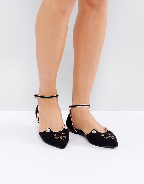 ASOS LEXUS Cat Pointed Ballet Flats in black - Flat shoes by ASOS Collection, Textile upper,...