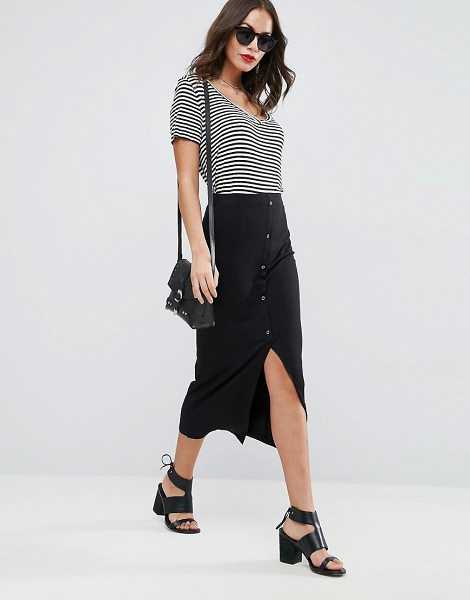 ASOS DESIGN rib popper midi skirt - Midi skirt by ASOS Collection, Soft-touch jersey, High...