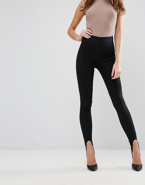 "ASOS RIVINGTON High Waist Denim Jeggings with Stirrups in Washed Black in washedblack - """"Rivington jeggings by ASOS Collection, Smooth..."