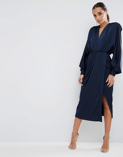 "ASOS Shoulder Pad Long Sleeve Selenia Midi Dress - """"Midi dress by ASOS Collection, Satin-style fabric,..."