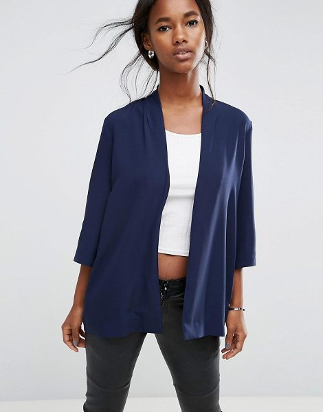 ASOS Soft Chuck On Blazer in navy - Blazer by ASOS Collection, Open front, Cropped sleeves,...