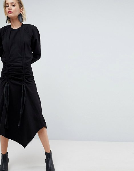 ASOS White ruched sweat dress with shoulder pads in black - Dress by ASOS WHITE, The 80s called, Crew neck, Zip...