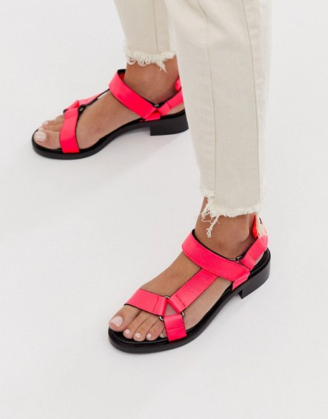 ASOS White bluebell leather sporty sandals in neon pink in pink