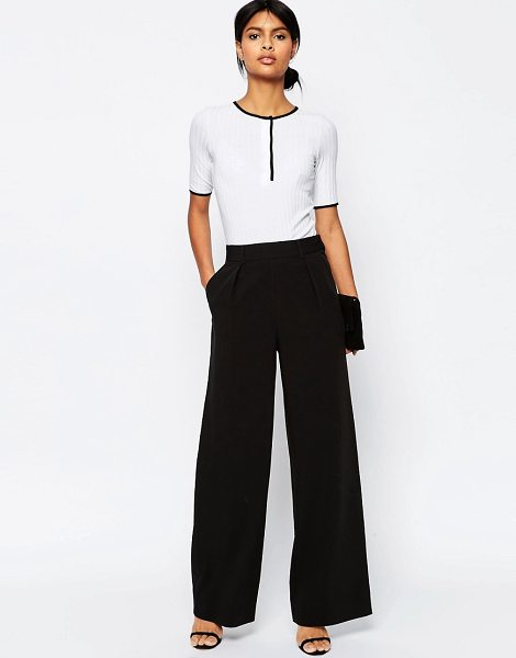 ASOS DESIGN wide leg pants with pleat detail-black in black