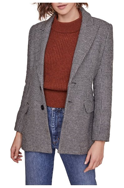 ASTR the Label arlo houndstooth check blazer in black white houndstooth