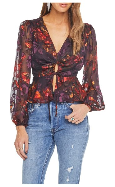 ASTR the Label gianna front tie peplum blouse in plum/ red floral - Take a trip back to the Summer of Love in this...