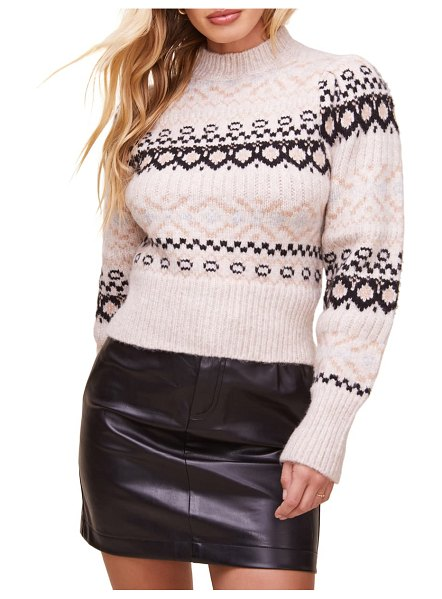 ASTR the Label maria fair isle sweater in ivory/black multi