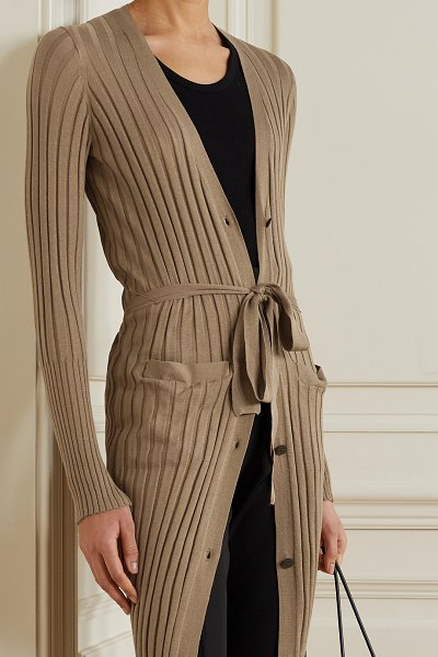 ATM Anthony Thomas Melillo belted ribbed silk and cotton-blend cardigan in tan