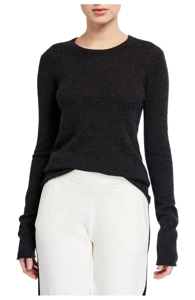 ATM Anthony Thomas Melillo Cashmere Long-Sleeve Crewneck Top in charcoal