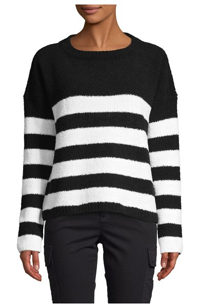 ATM Anthony Thomas Melillo Chenille Stripe Sweater in black chalk