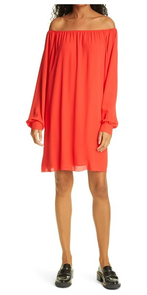 ATM Anthony Thomas Melillo crepe georgette off the shoulder long sleeve dress in flame