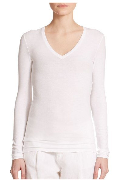ATM Anthony Thomas Melillo long-sleeve v-neck tee in black,white