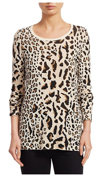 ATM Anthony Thomas Melillo Mixed Leopard Long-Sleeve Tee in silver pavement combo