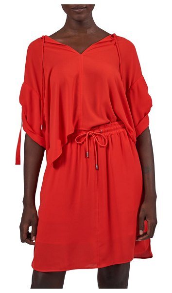 ATM Anthony Thomas Melillo tie neck crepe georgette tunic top in flame