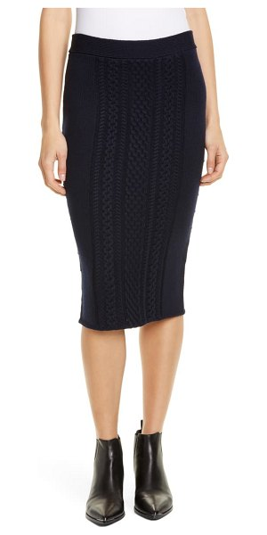 ATM Anthony Thomas Melillo wool blend cable knit skirt in midnight