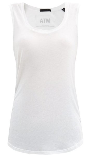 ATM scoop-neck jersey tank top in white