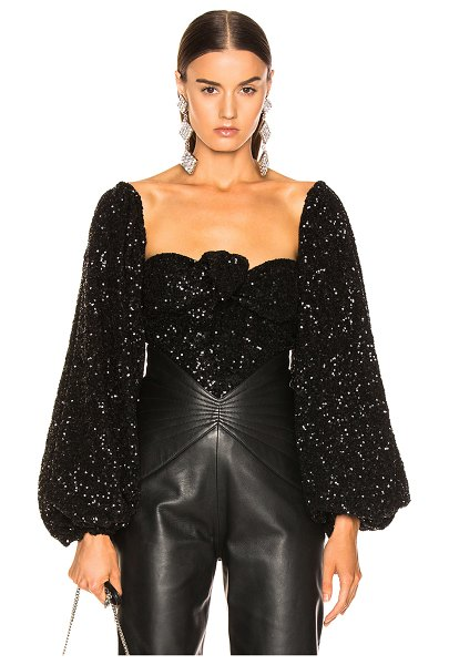 ATTICO balloon sleeve sequined blouse in black