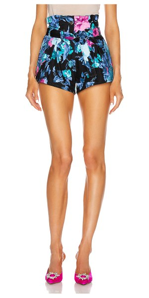 ATTICO printed a-line shorts with belt in blue & mauve
