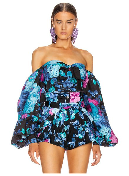 ATTICO printed tie top with balloon sleeves in blue & mauve