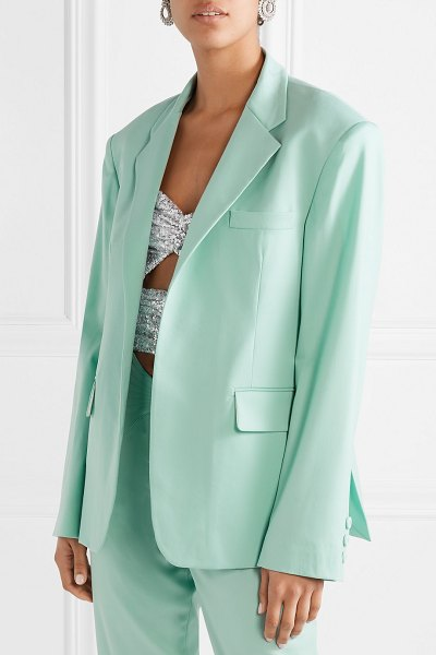 ATTICO wool-blend gabardine blazer in light green - PorterEdit rules that a colorful suit is one of the...