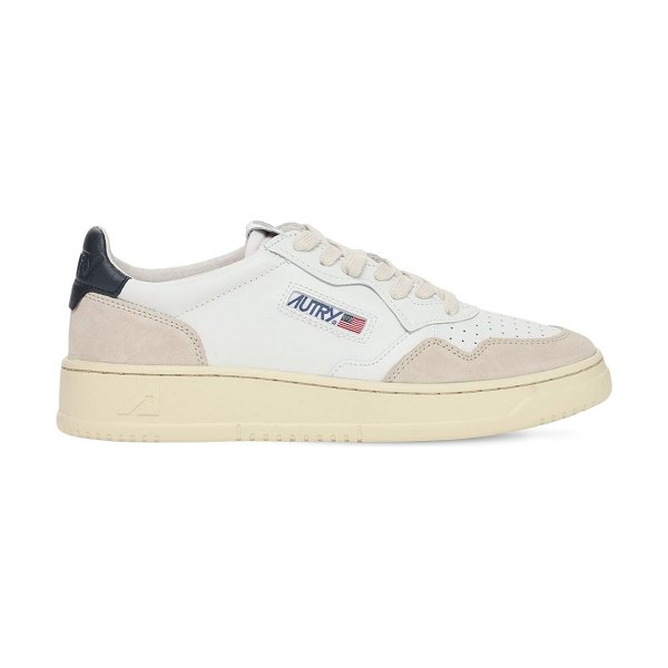 AUTRY Leather & suede low sneakers in white,navy