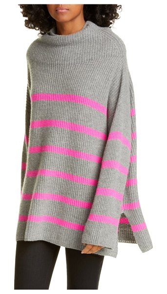 Autumn Cashmere breton stripe funnel neck cashmere sweater in cement/ atomic pink