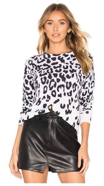 Autumn Cashmere Leopard Crew in white - 100% cashmere. Dry clean only. Lightweight knit. Ribbed...