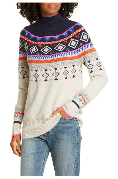 Autumn Cashmere mock neck fair isle cashmere sweater in mojave/ navy