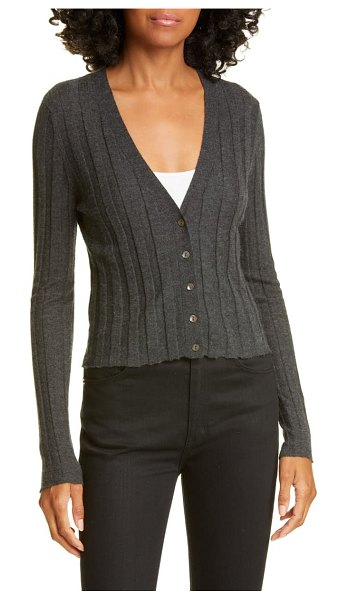 Autumn Cashmere ribbed cashmere cardigan in charcoal