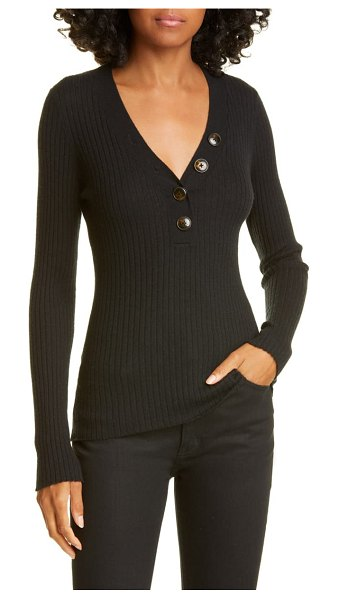 Autumn Cashmere ribbed cashmere henley sweater in black