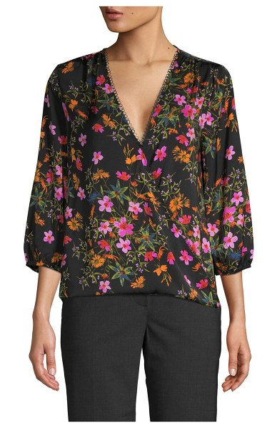 AVA & AIDEN Floral-Print Wrap Top in black floral