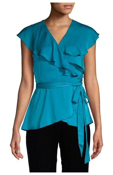 AVA & AIDEN Flutter-Sleeve Wrap Top in teal