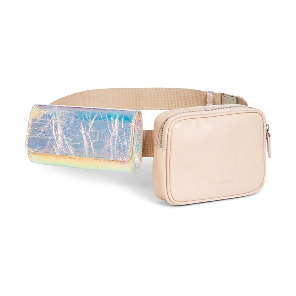 Avec La Troupe covey convertible belt bag in beige - A gleaming, adjustable chain strap lets you wear this...