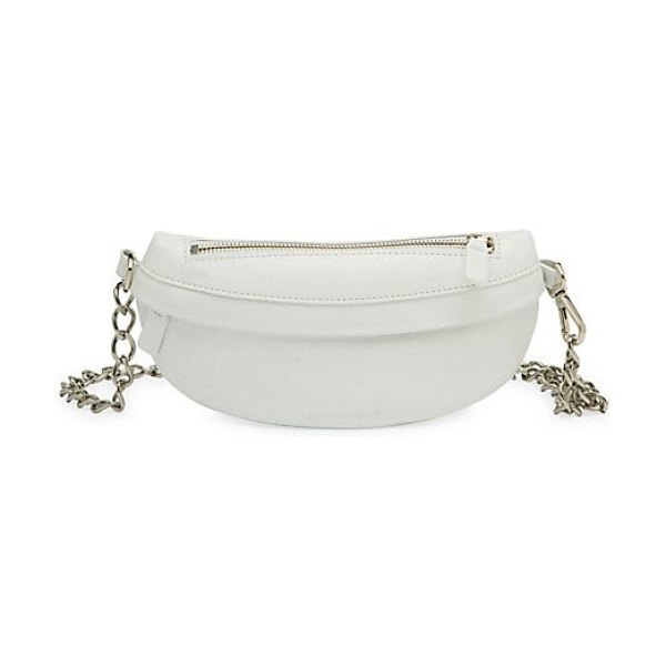 Avec La Troupe leather chain strap belt bag in white - Sleek calfskin leather fanny pack enhanced with chain...