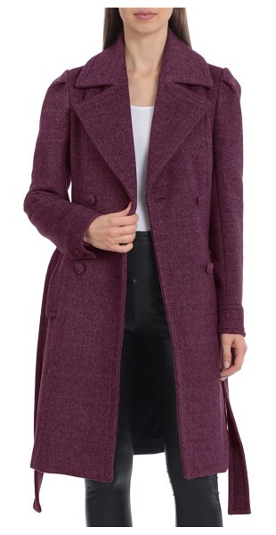 AVEC LES FILLES double breasted belted coat in berry