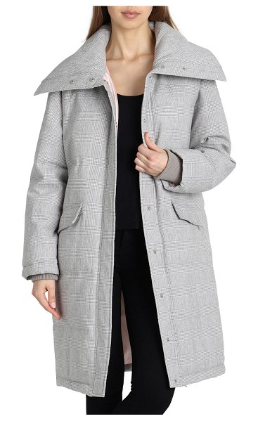 AVEC LES FILLES Long Plaid Puffer Coat in grey white - Avec Les Filles long puffer coat in plaid. Oversized...