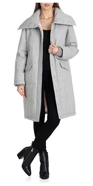 AVEC LES FILLES plaid puffer coat in women~~outerwear~~3/4 or long coat - A wide, face-framing collar tops a puffed,...