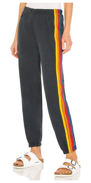 Aviator Nation 5 stripe sweatpant in charcoal