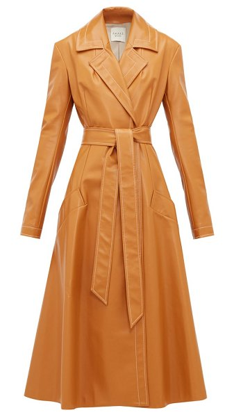 A.W.A.K.E. Mode gingerbread belted leather coat in orange