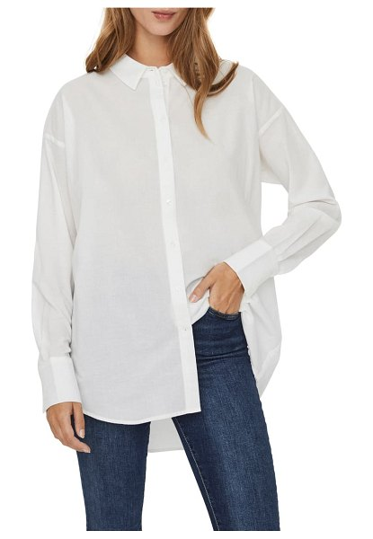 AWARE BY VERO MODA organic cotton woven shirt in snow white