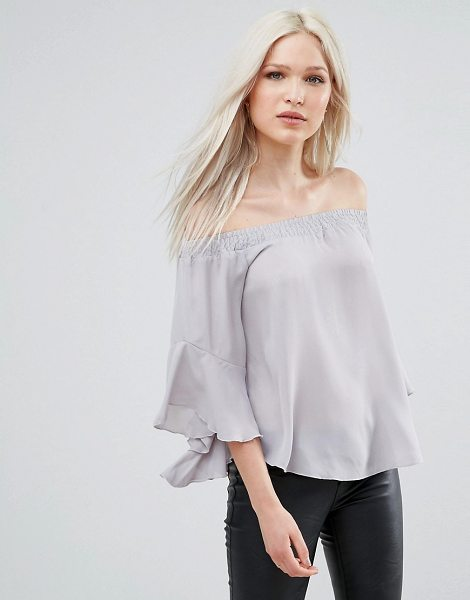 "AX PARIS Bardot Top With Flute Sleeves - """"Top by AX Paris, Lightweight fabric, Bardot neck,..."