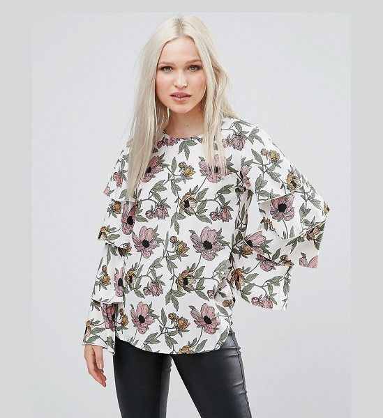 """AX Paris Frill Sleeve Floral Top in cream - """"""""Top by AX Paris, Lightweight woven fabric, Floral..."""